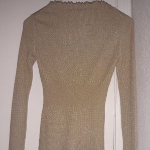 Sweaters - Vintage Knitted Shimmer Beige Retro Cardigan